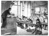 Salon of 1874. paint. - A drawing lessons at school Cochin, by A — 图库照片