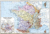 The Map- France physical (France - Divided into Basins) — Stock Photo