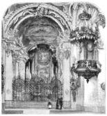 Our Lady of the Hermits (Einsiedeln, Switzerland), vintage engra — Stock Photo