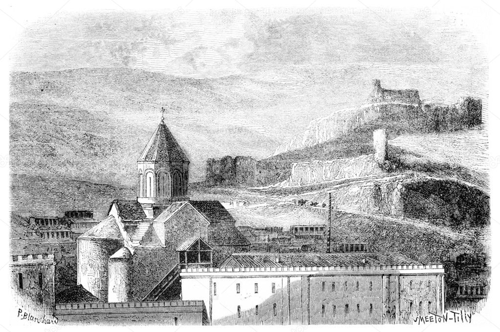 Mtskete Church, near Tiflis, vintage engraved illustration. Magasin Pittoresque 1875. — Stock Photo #9080607