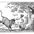 Dr. Syntax chased by a bull vintage engraving. — ベクター素材ストック