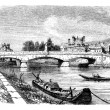 The Bridge of Clamecy (department of Nievre) and the bust of Jea — Vector de stock