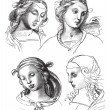 Pen drawings by Raphael, at the Academy of Fine Arts of Venice. — Vettoriale Stock