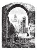 Ruinas de la mezquita de hakim-biamr-allah, el cairo, vintage engravi — Vector de stock