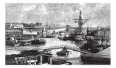 General view of the port of Brest. - Drawing Ph. Blanchard, vint — Stock Vector