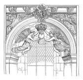 Jesuit Church, rue Saint-Antoine, vintage engraving. — Stock Vector