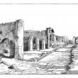 Pompei, way of the tombs, vintage engraving. — Stock Vector