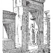 The gate at the palace of Darius vintage engraving — 图库矢量图片