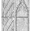 Stock Vector: Door of Sainte-Chapelle vintage engraving