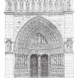 Royalty-Free Stock Vector Image: The front gate in the middle of Notre Dame Cathedral vintage eng