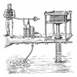 Hydraulic press or Bramah press vintage engraving - Vektorgrafik