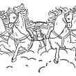 Quadriga vintage engraving — Stock Vector