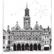The town hall of Saint-Quentin vintage engraving — Stock Vector