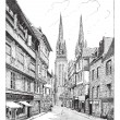 Royalty-Free Stock Vector Image: Quimper Cathedral in France vintage engraving