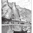 Romsdal valley of the Rauma, vintage engraving. — Image vectorielle