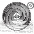 Turbine wheel, vintage engraving. — 图库矢量图片