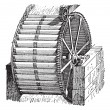 Waterwheel bucket, vintage engraving. — Image vectorielle