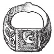 Seal, Signet ring with the symbol of the dove, vintage engraving — 图库矢量图片