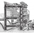 Постер, плакат: Marinoni Rotary printing press vintage engraving