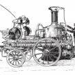 Steam pump on carriage vintage engraving — 图库矢量图片