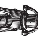 Gravure vintage de Canon boîte — Vecteur