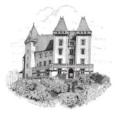 Chateau de Pau or Pau Castle in France vintage engraving — Stock Vector