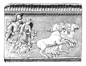 Helen getirisi quadriga antika gravür — Stok Vektör