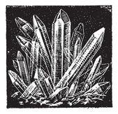 Crystallized Quartz vintage engraving — Stock Vector