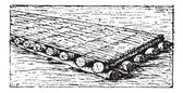 Phoenician raft vintage engraving — Stock Vector