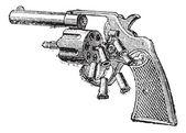 Colt Revolver, vintage engraving. — Stock Vector