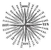 Pusula gülü veya windrose, antika gravür. — Stok Vektör
