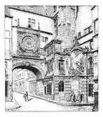 Rouen, the big clock, Normandy, France, vintage engraving. — Stock Vector