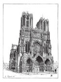 Cathedral of Reims, France, vintage engraving. — Stock Vector