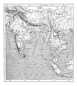 インド、インドシナのビンテージ彫刻の地図 — ストックベクタ