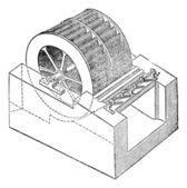 Turbina, vintage grabado. — Vector de stock