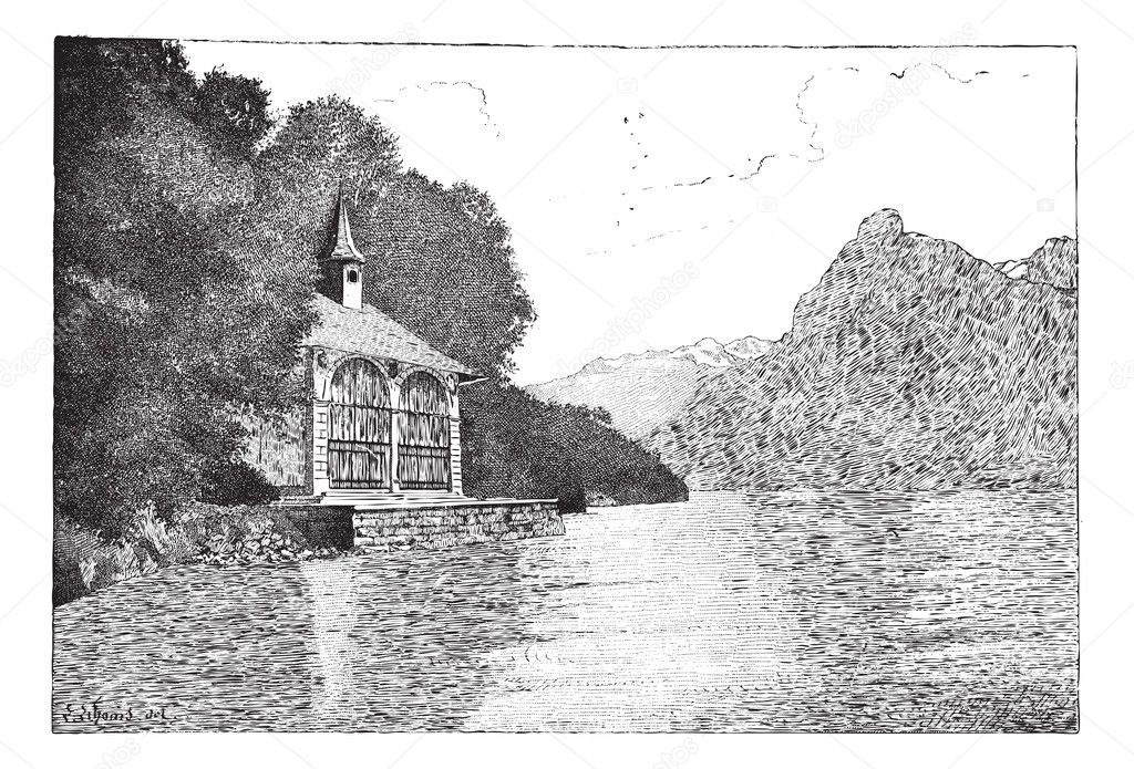 Old engraved illustration of the chapel of William Tell with Lake Lucerne in front. Dictionary of words and things - Larive and Fleury ? 1895 — Stock Vector #9091163