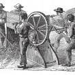 Постер, плакат: Five using threshing machine also known as thrashing mac