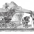 Постер, плакат: Threshing machine or thrashing machine vintage engraving