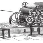 Biscuit (Hardtack) making machine vintage engraving — Stock Vector #9102555