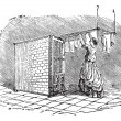 Movable clothes dryer vintage engraving — Stock vektor