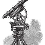 Theodolite, vintage engraving. — Stock Vector