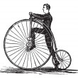 Penny-farthing or High Wheel Bicycle, vintage engraving — Stock Vector