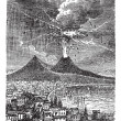 Eruption of Mount Vesuvius, in Naples, Italy, vintage engraving — Stock Vector #9105082