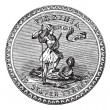 Royalty-Free Stock Imagen vectorial: Seal of the State of Virginia, USA, vintage engraving