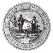 Royalty-Free Stock Vectorafbeeldingen: Seal of the State of West Virginia, USA, vintage engraving