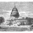 United States Capitol, in Washington, D.C., USA, vintage engravi — Stock Vector