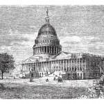 United States Capitol, in Washington, D.C., USA, vintage engravi — Stock Vector