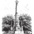 Royalty-Free Stock Vector Image: Soldiers\' Monument Worcester Massachusetts USA vintage engraving