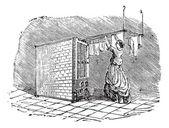 Incisione d'epoca essiccatore di vestiti mobili — Vettoriale Stock