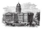 Topeka, Capitol of the state of kansas or Kansas Statehouse, vin — Stockvektor
